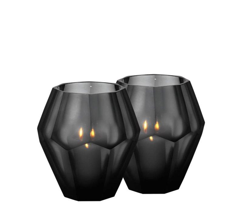 Waxinelichthouders - Okhto black 'L' set van 2