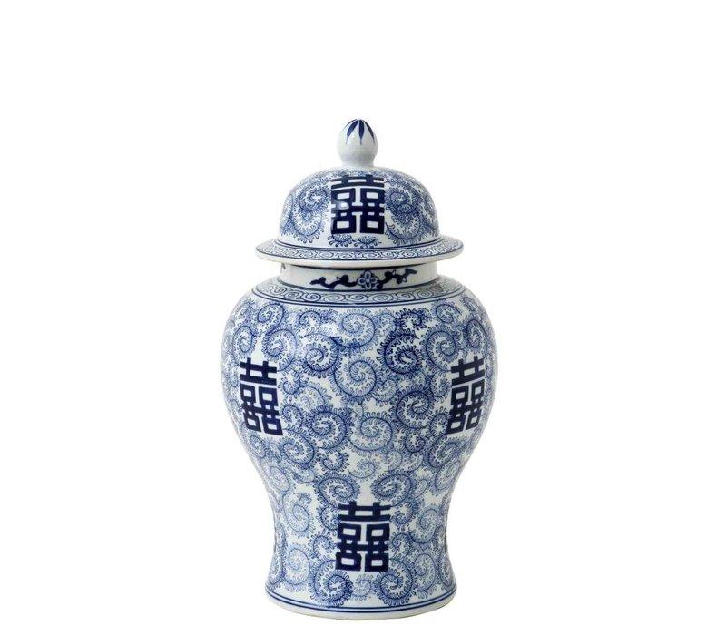 Decoratie vaas Chinese Blue 'Glamour L' 27 x 48cm (h)