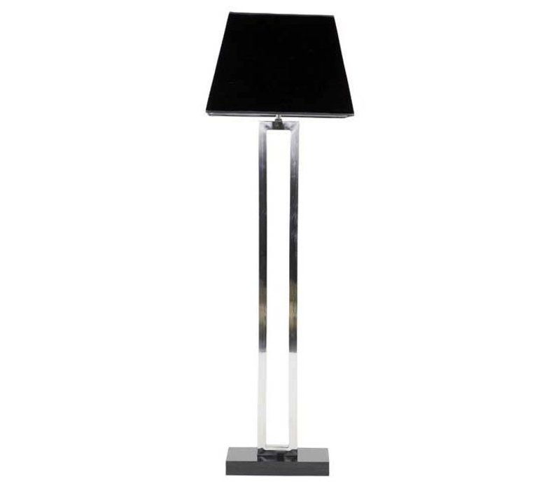 Floor lamp 'Arlington' stainless steel with a shade in black