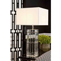 Table lamp 'Universal' crystal glass with a cream shade