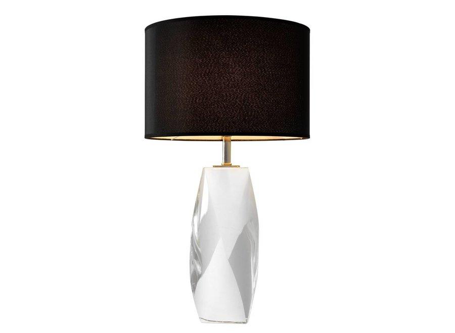 Tafellamp Titan met kristallen voet en zwarte ronde kap, 75cm hoog