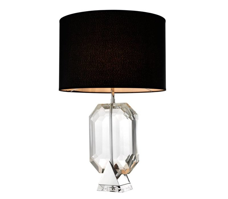 Table lamp 'Emerald' crystal glass with a black shade