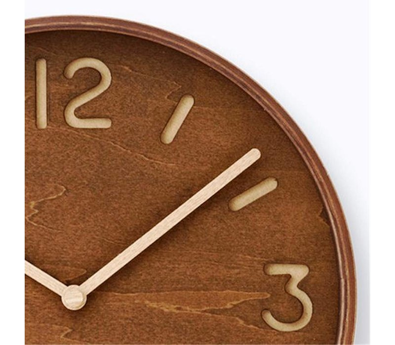 wooden wall clock 'Thomson,' available in brown-stained or natural wood finish