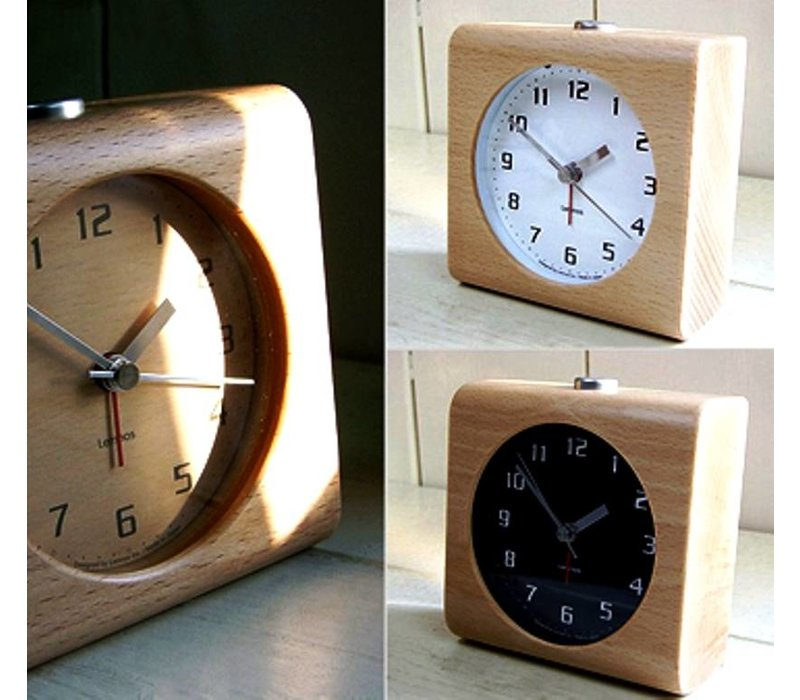 Design alarm clock 'Block' carved from a solid block of wood