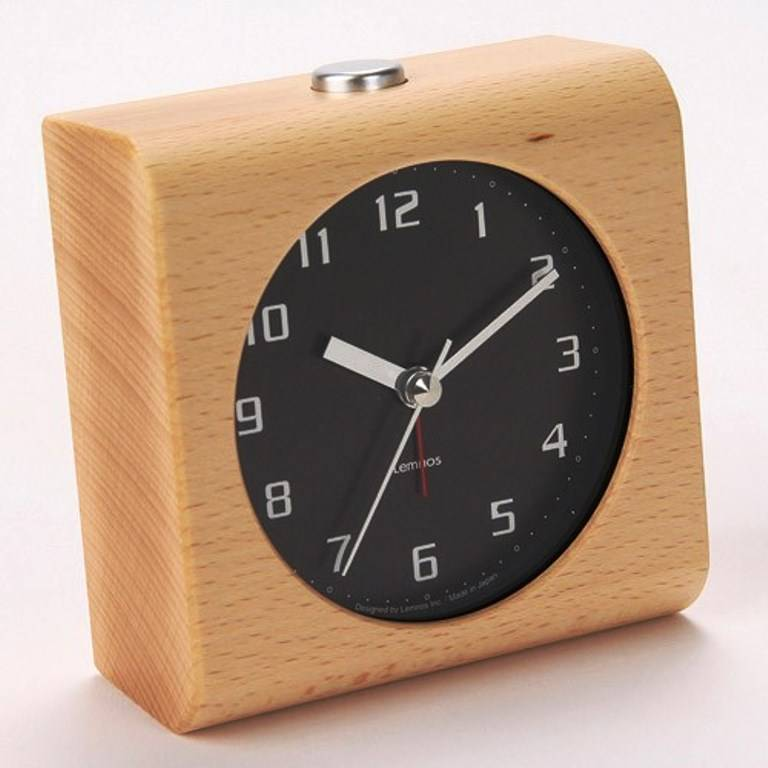 Lemnos Design Alarm Clock Block Carved From A Solid Block Of Wood