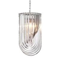 Hanglamp Murano van gebogen helder acryl met een doorsnede van 35cm