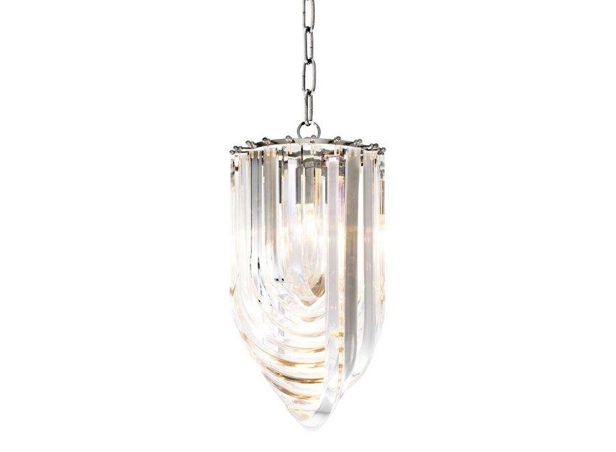 Hanglamp Murano van gebogen helder acryl met een doorsnede van 25cm