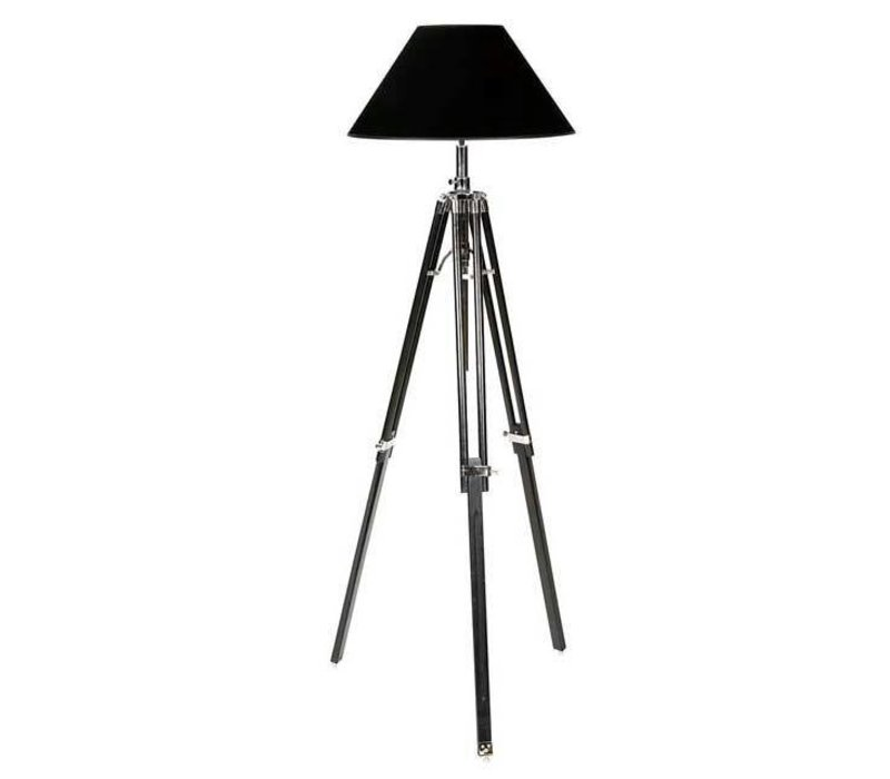 Dreibein Lampe 'Telescope' schwarz verstellbare Höhe.
