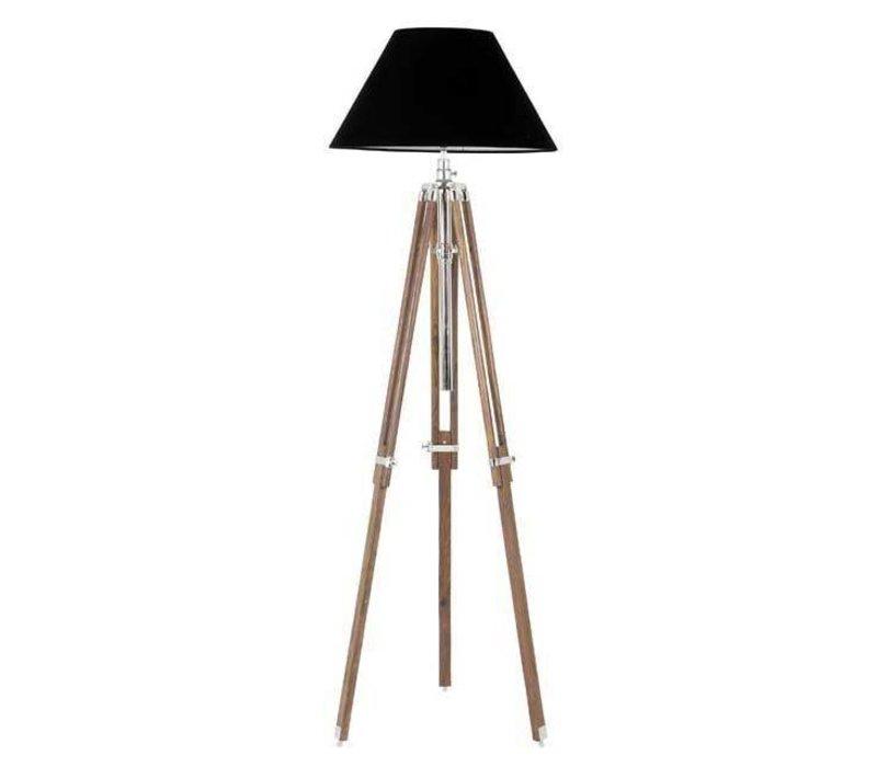Driepoot lamp 'Telescope' wood verstelbaar in hoogte