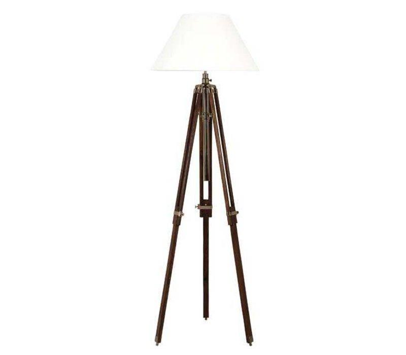 Driepoot lamp 'Telescope' wood/brass verstelbaar in hoogte