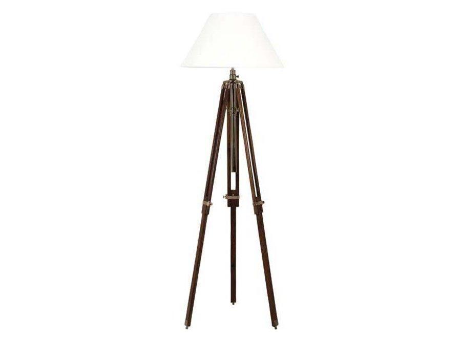 Driepoot lamp 'Telescope' wood/brass