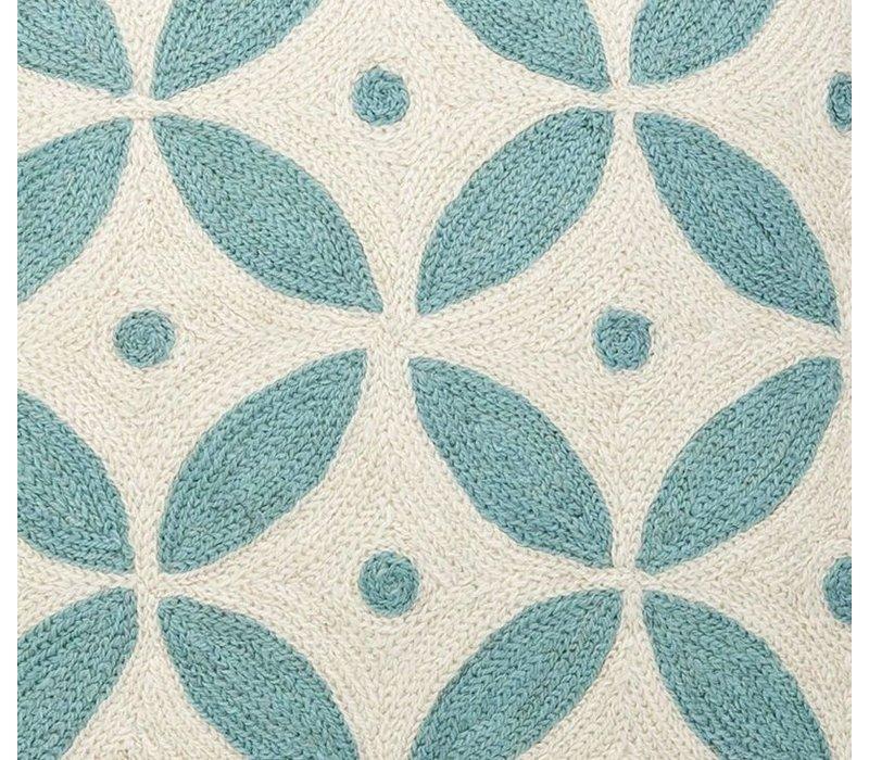 Sierkussen Loganberry kleuren blauw & wit
