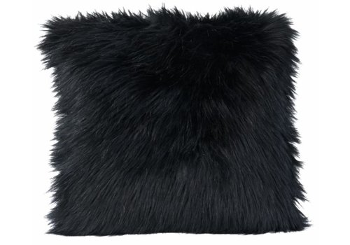 Winter-Home Cushion faux fur Blackwolf