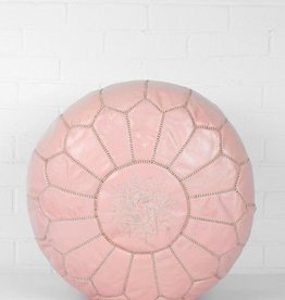 Riadlifestyle Moroccan leather pouf Pink
