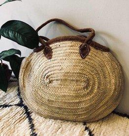 Riadlifestyle Moroccan wicker basket Cognac Suede