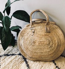 Riadlifestyle Moroccan wicker basket Leather beige