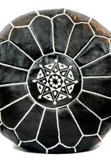 Riadlifestyle Marokkaanse leren poef zwart