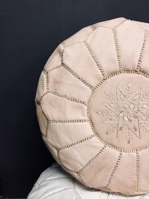 Riadlifestyle Moroccan leather pouf naturel