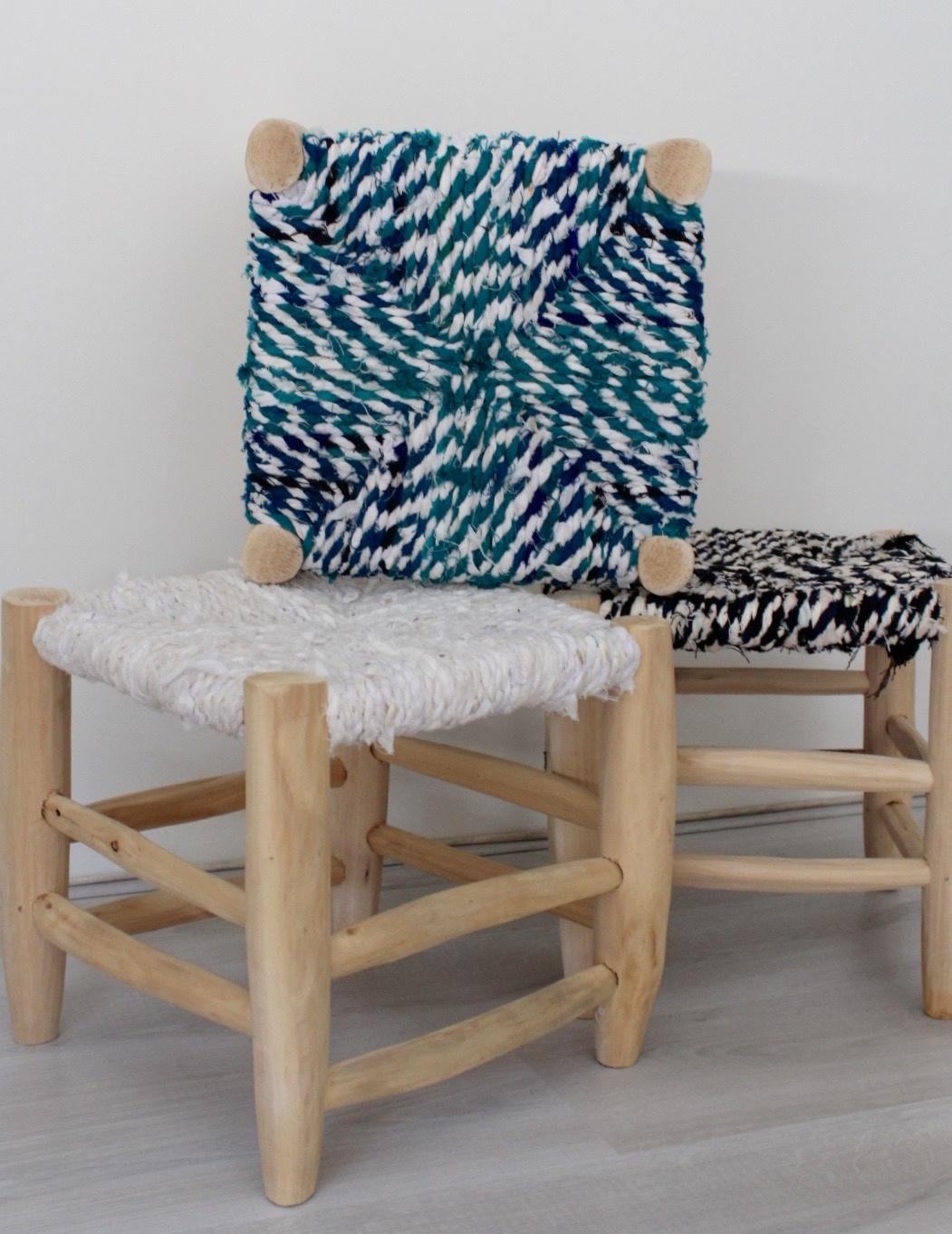 Riadlifestyle Moroccan stool Boucherouite white