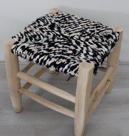 Riadlifestyle Moroccan stool Boucherouite blue