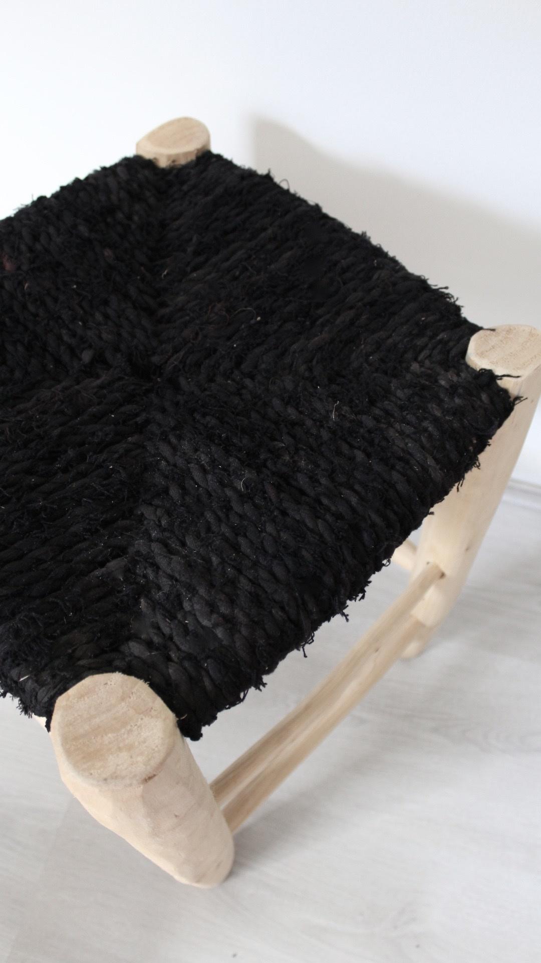 Riadlifestyle Moroccan stool Boucherouite black