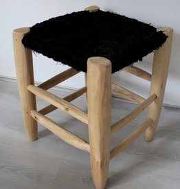 Riadlifestyle Moroccan stool Boucherouite black Big