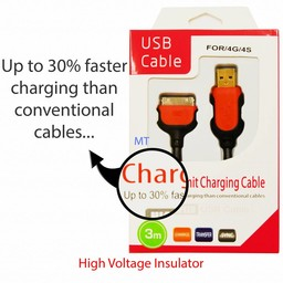 3M Charge Sync USB Cable For I-Phone  30 Pin 30% Faster