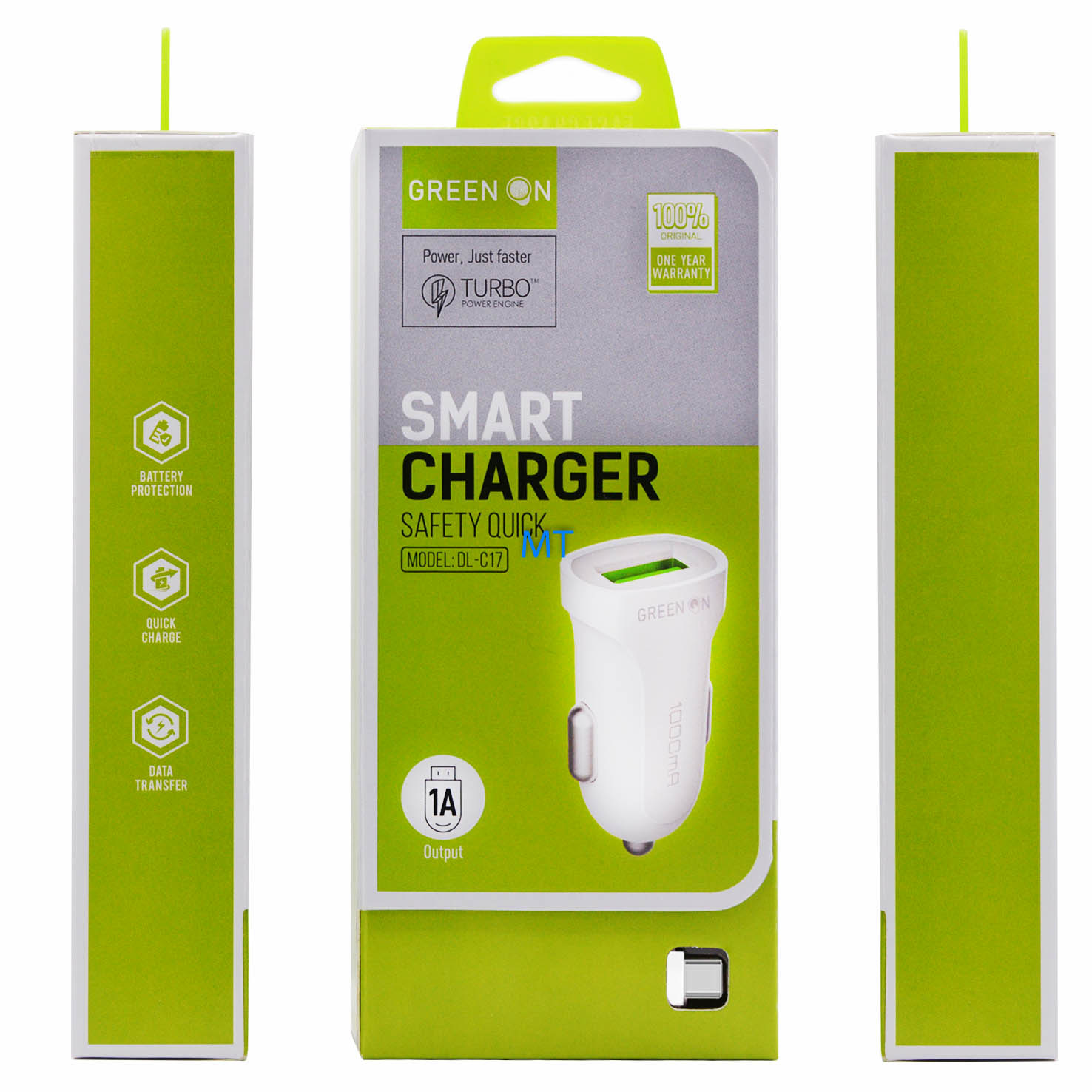 GREEN ON  Smart USB C Car Charger DL-C17