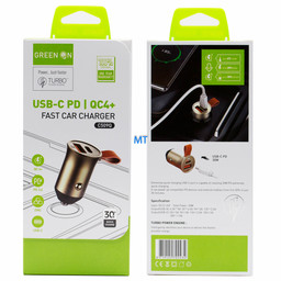 GREEN ON  GREEN ON USB & USB-C  Fast Car Charger  C509Q