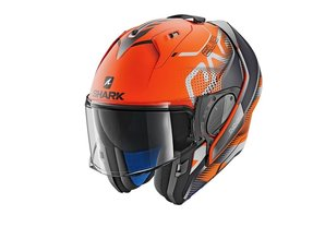 Shark Evo-One 2 Keenser Mat orange-black- antracite Systeem Motorhelm