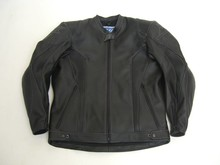 MJK Leathers Black Carbon Cota Motorjack grey stitching