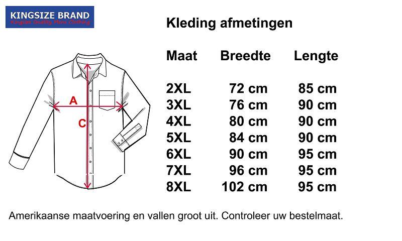 Kingsize Brand SH242 Grote maten Printed Overhemd (lange mouw)