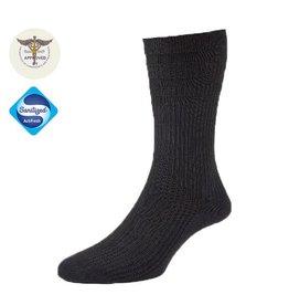19001 Wollen Extra Wijde Sokken - Zwart