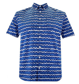 Kingsize Brand SH324 Grote maten Blauw Printed WAVE Overhemd