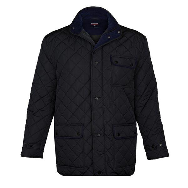 Kingsize Brand JT109  Grote maten Zwarte Quilted Hertigade Winterjas