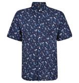 Kingsize Brand SH328 Grote maten Blauw Overhemd met Palm Print