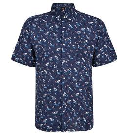 Kingsize Brand SH328 Grote maten blauw overhemd Palm Print