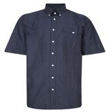 Kingsize Brand SH350 Grote maten blauw overhemd Gematric Print