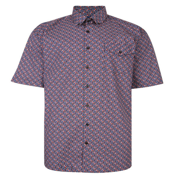 Kingsize Brand SH351 Grote maten blauw overhemd Circle Print