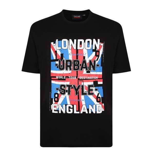 "Kingsize Brand T329 Grote maten Zwart T-shirt ""London"""