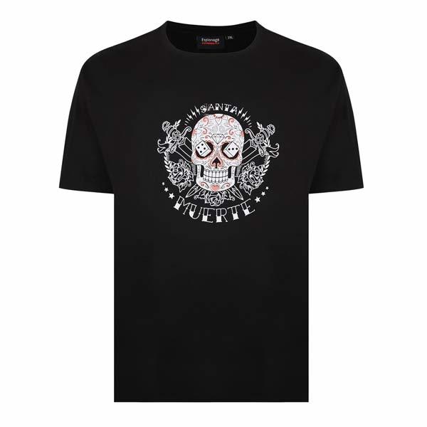 """Kingsize Brand T338 Grote maten Zwart T-shirt """"Muerte"""""""
