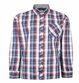 Kingsize Brand SH358 Grote maten Blauw Overhemd Western Checks