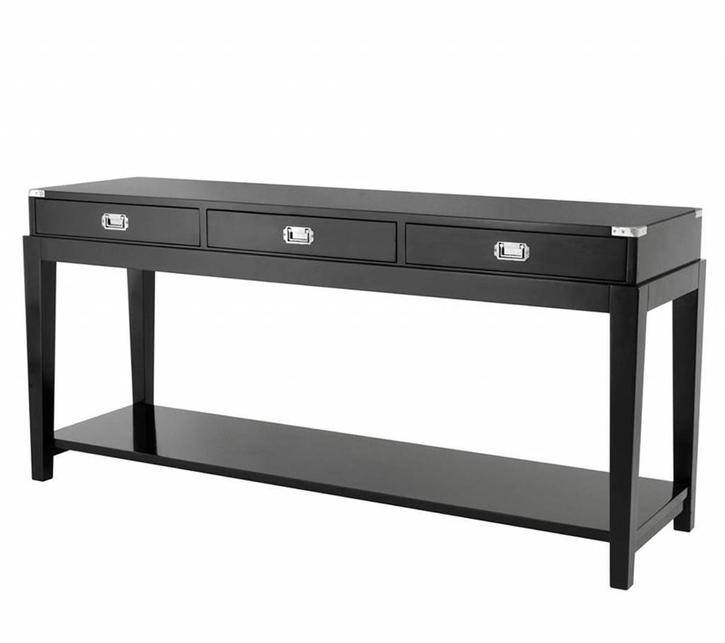 Sidetable Met Laatjes.Zwarte Side Table Met 3 Laden Eichholtz Console Table