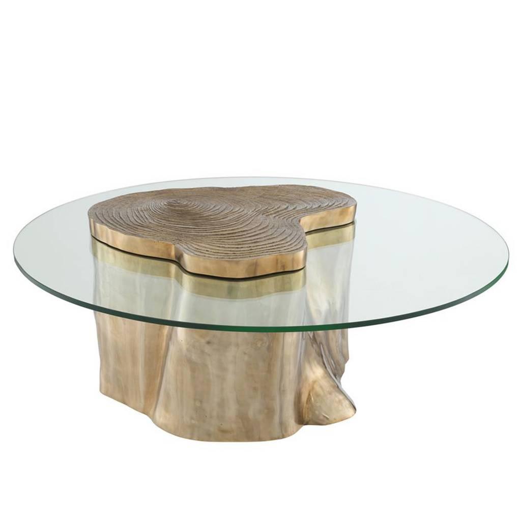 Salontafel Messing Met Glasplaat.Coffee Table Urban Eichholtz Ronde Salontafel Goudkleur Messing