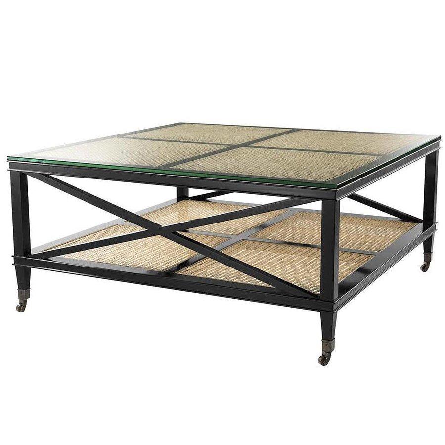 Salontafel Riet Met Glas.Mooie Zwarte Salontafel Met Rieten Planken En Een Glazen