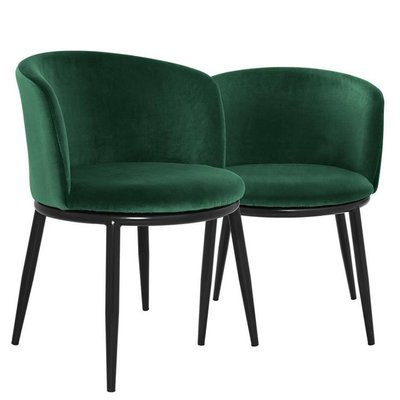 Eichholtz Eetkamerstoel Filmore groen velvet set 2