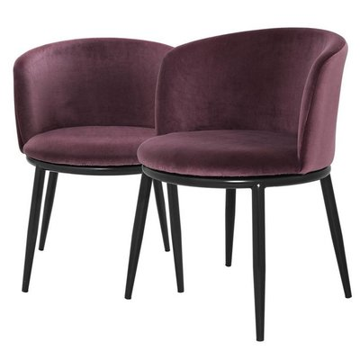 Eichholtz Stoel Dining Chair Filmore purple fluweel set 2