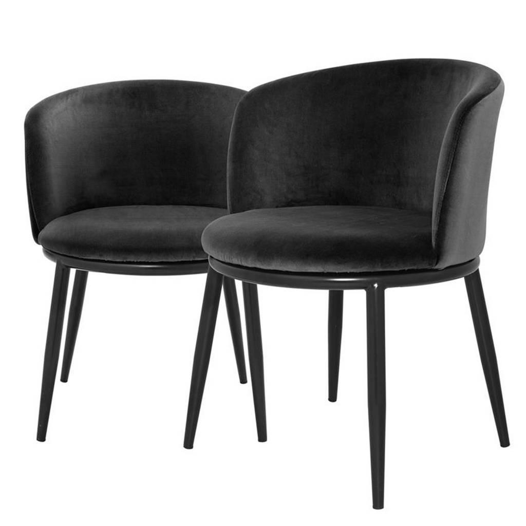Zwart Velours Fauteuil.Eichholtz Stoel Zwart Fluweel Ronde Rugleuning Chair Filmore Zwart