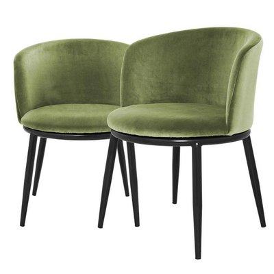 Eichholtz Stoel Dining Chair Filmore lichtgroen velvet set 2