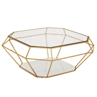 Eichholtz Salontafel Coffee Table Asscher gold 100x100cm Gold